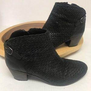 Catherine Maladrino Leather Woven Heeled Booties